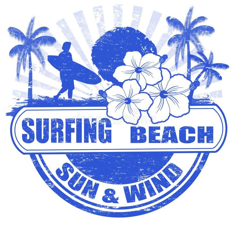 Surfing beach stamp stock illustration