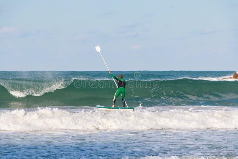 Surfing beach in Tel Aviv, Israel stock image