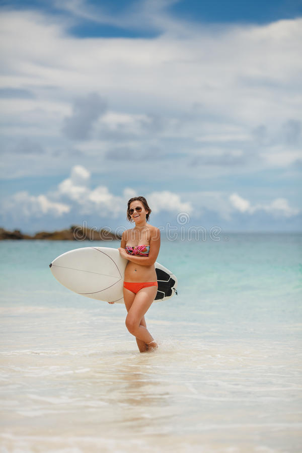 Download Surfing Beautiful Woman On The Beach Stock Photo - Image: 40199407