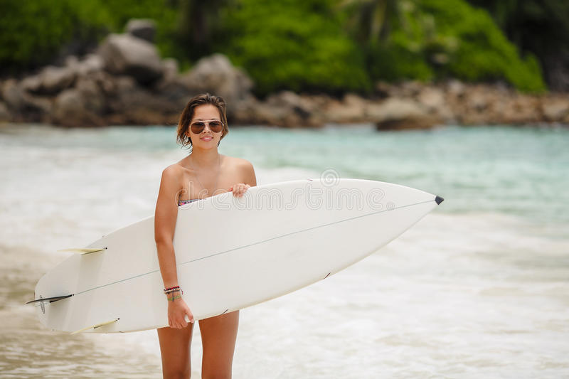 Download Surfing Beautiful Woman On The Beach Stock Photo - Image: 40199418