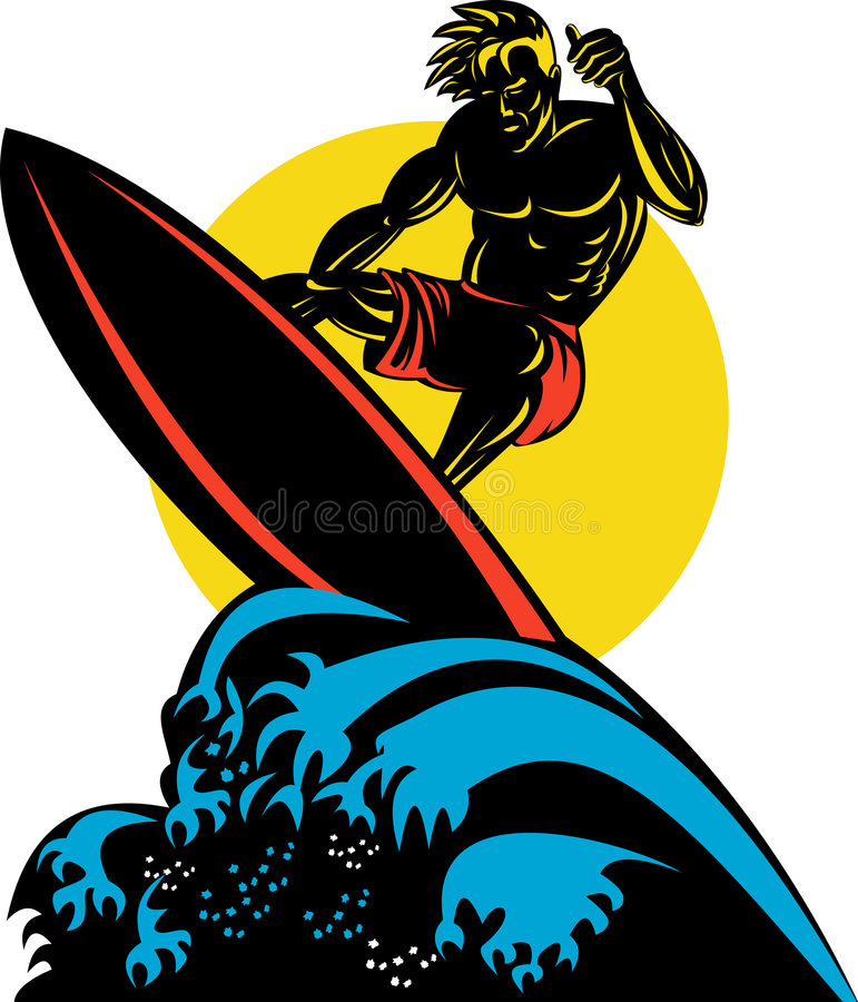 Surfing the big waves royalty free illustration
