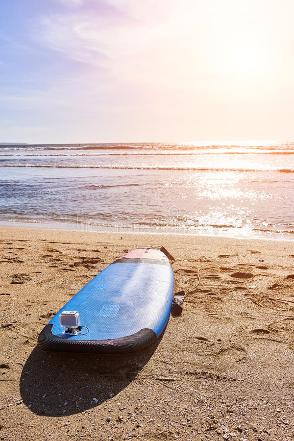 Surfing board on the beach. Bali stock images