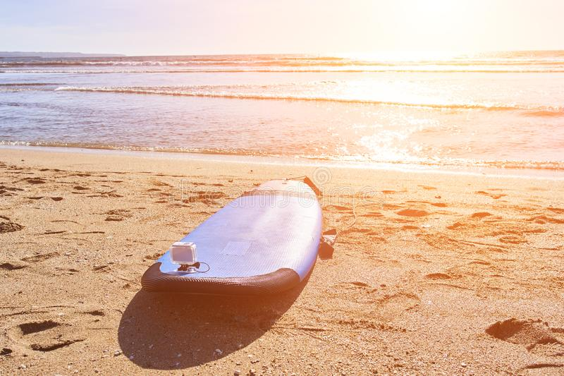 Surfing board on the beach. Bali stock photos