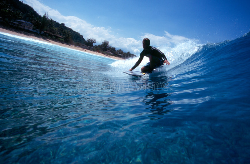Download Surfing A Bodyboard In Blue Hawaii Royalty Free Stock Images - Image: 1859