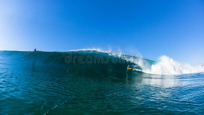 Surfing Body Boarding Tube Ride WaveWater Photo royalty free stock photos