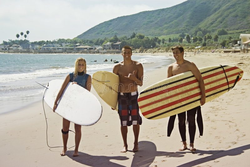 Surfing Buddies stock photos