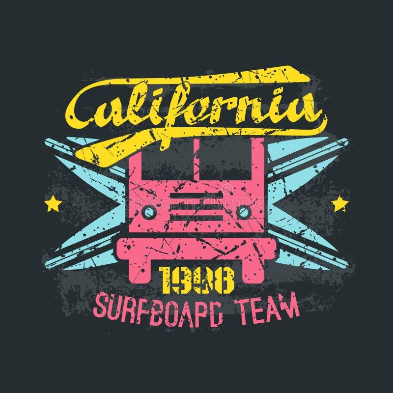 Surfing bus emblem in retro style stock illustration