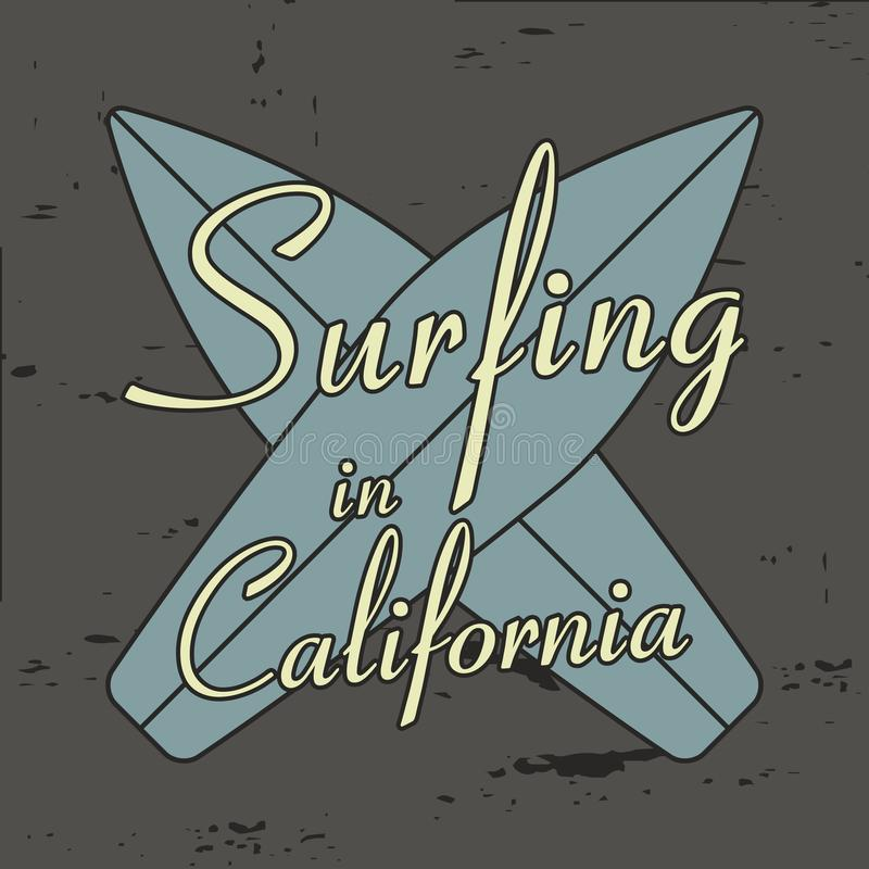 Surfing in California typography for design clothes, t-shirts, vintage apparel. stock illustration