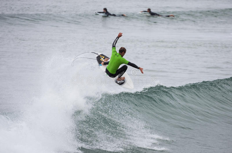 Surfing competition. William Alotti (St Martinque). BUNDORAN, IRELAND - JUNE 27: William Alotti performs during Expression Session, part of annual Sea Sessions royalty free stock photos
