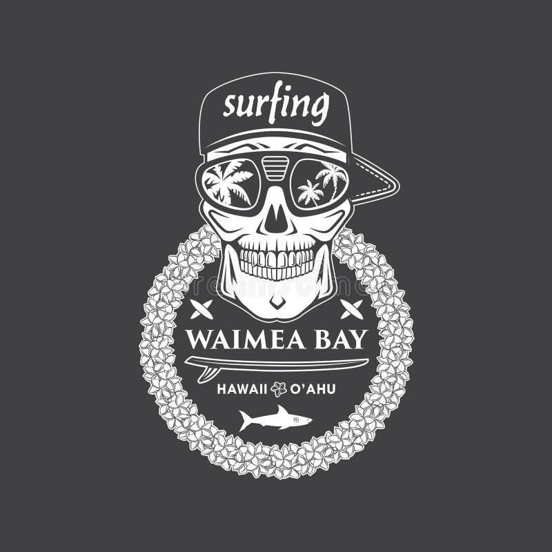 Surfing czaszka Hawaii ilustracji