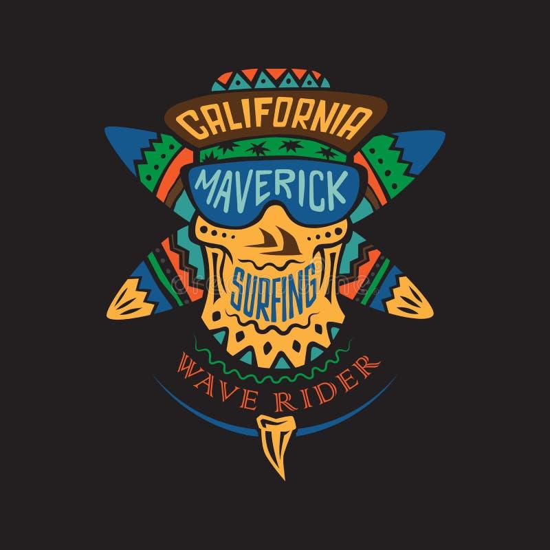 Surfing czaszki niezależny kolor ilustracja wektor