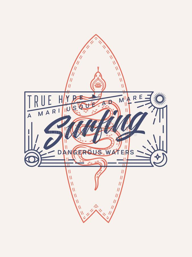 Surfing dangerous waters with a true hype. Surfing dangerous waters is a colored vector illustration depicting a hand made script and a surfboard with a snake on vector illustration