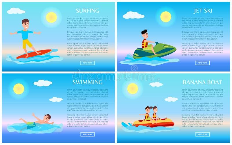 Surfing, dopłynięcie, Bananowa łódź i strumień narta, royalty ilustracja