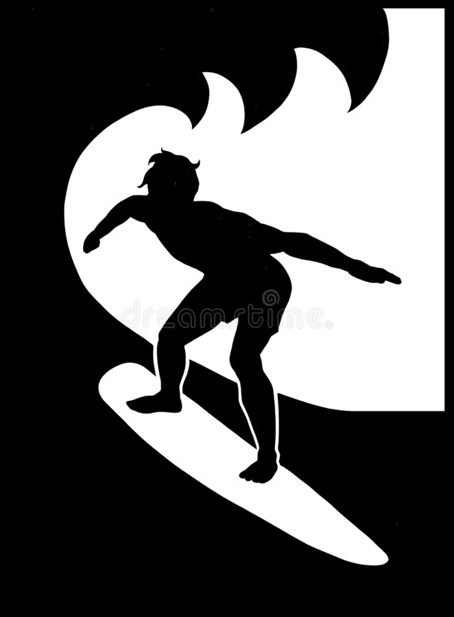 Surfing Dude. Black and white raster illustration of a guy surfing. Drawn by hand in Photoshop