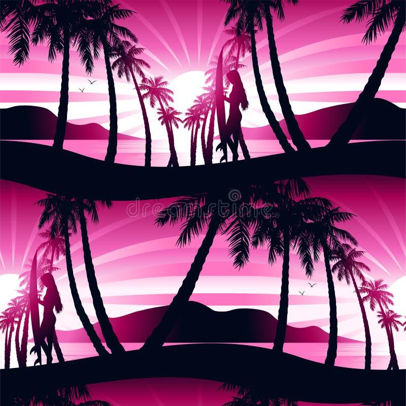 Surfing dziewczyna przy wschodu słońca bezszwowym wzorem ilustracja wektor
