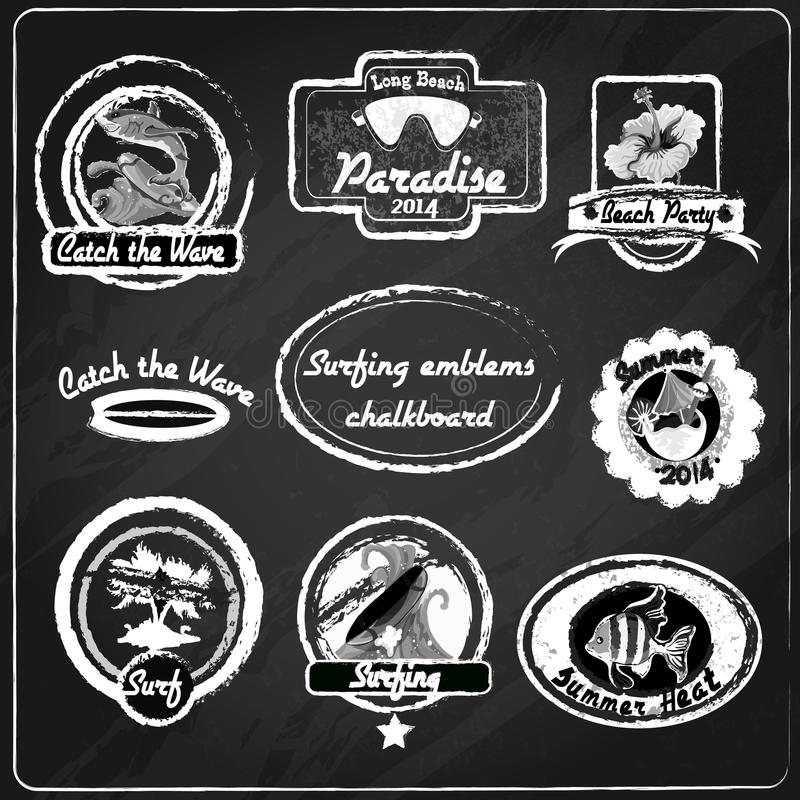 Surfing emblems chalkboard stock illustration