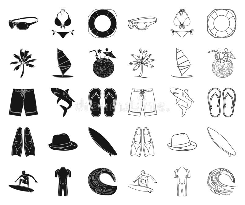 Surfing and extreme black,outline icons in set collection for design. Surfer and accessories vector symbol stock web vector illustration