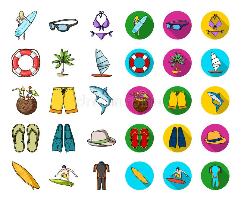 Surfing and extreme cartoon,flat icons in set collection for design. Surfer and accessories vector symbol stock web royalty free illustration
