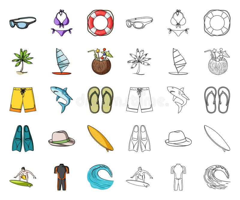 Surfing and extreme cartoon,outline icons in set collection for design. Surfer and accessories vector symbol stock web royalty free illustration