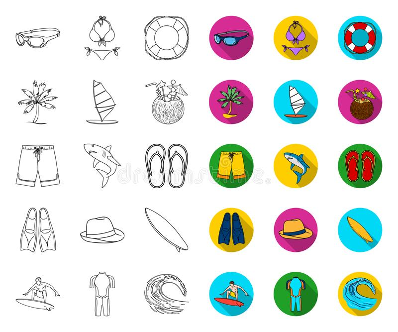 Surfing and extreme outline,flat icons in set collection for design. Surfer and accessories vector symbol stock web stock illustration