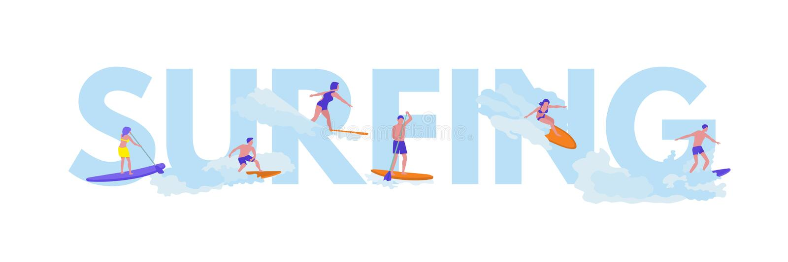 Surfing flat vector illustration with lettering. Young surfers cartoon characters. Colorful surfboards isolated design element. Extreme water sport. Ocean, sea vector illustration