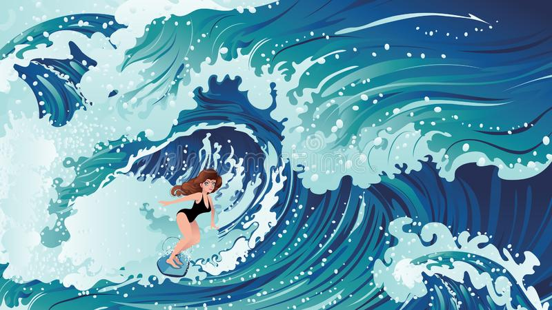 Surfing girl design royalty free illustration