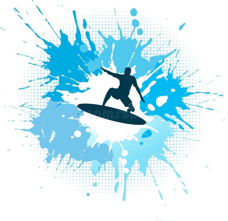 Surfing grunge stock illustration