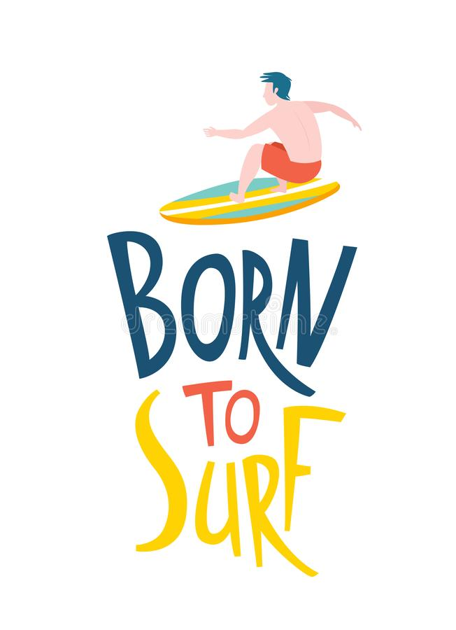 Surfing guys in the ocean. Born to surf lettering vector illustration
