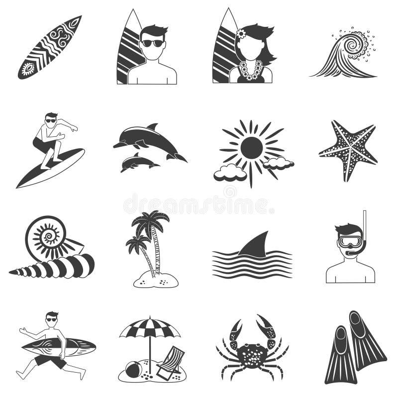 Surfing Icons Black stock illustration