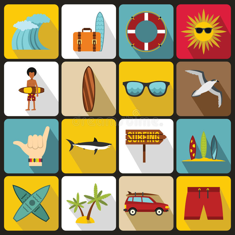 Surfing icons set, flat style vector illustration