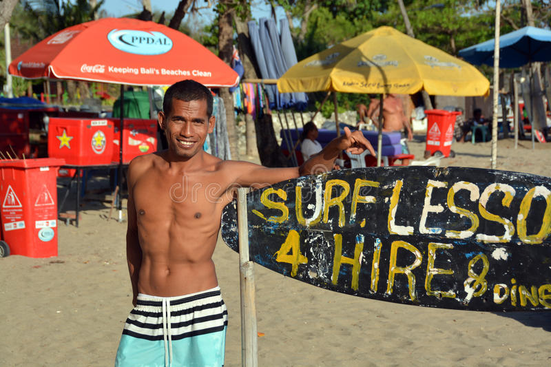 Surfing Instructor on the Beach at Legian Bali stock photography