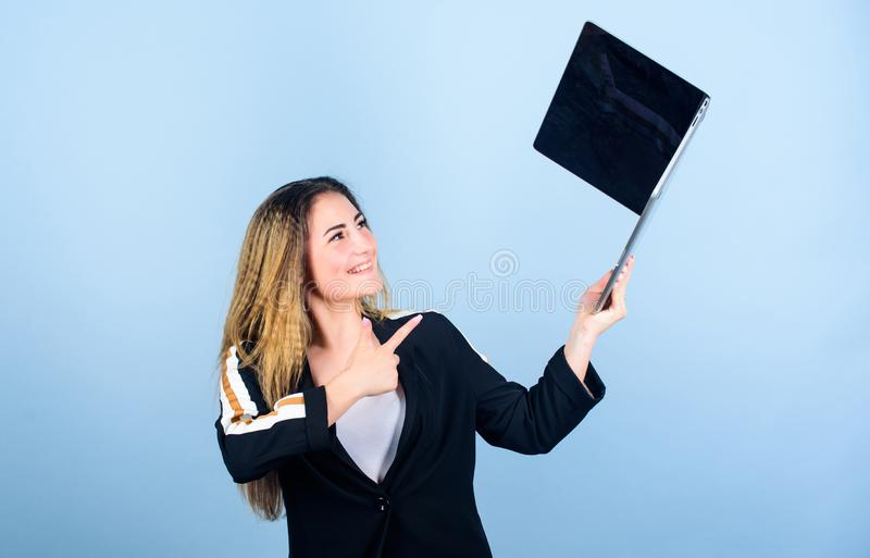 Surfing internet. Study programming. Blogging concept. Online remote job. Girl with laptop computer. Software developer royalty free stock photos