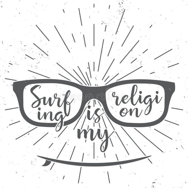 Surfing jest mój religią Wektorowy lato surfuje retro projekt Pojęcie dla koszula, logo, druk, znaczek lub sieć projekt, ilustracji
