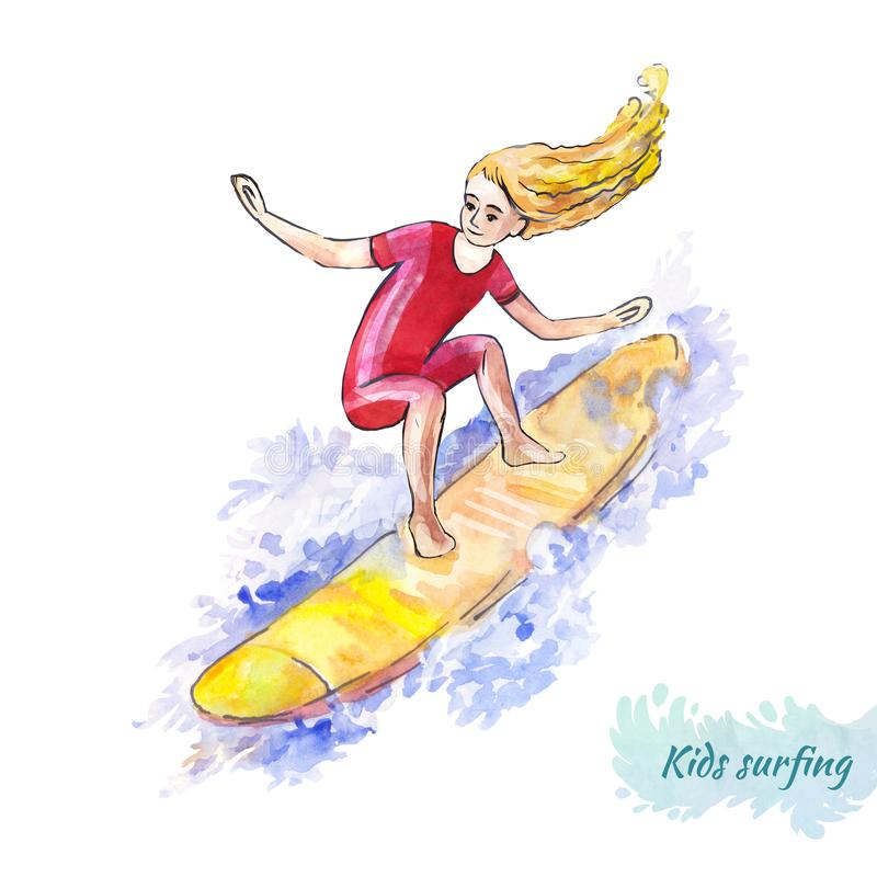 Surfing for kids. Young surfer on the board. The girl catches the wave. Bright illustration isolated on white. The girl surfer in a bright suit catches the wave vector illustration