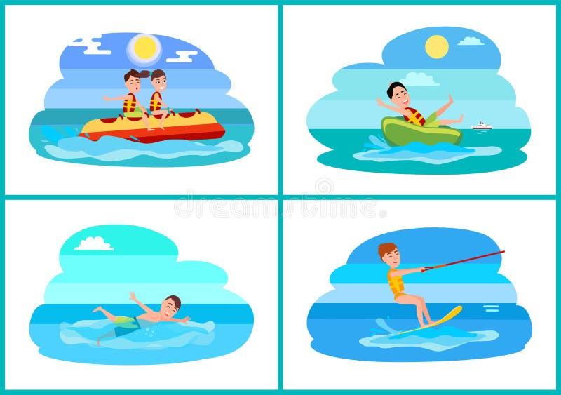 Surfing kolekcja sporta wektoru ilustracja royalty ilustracja