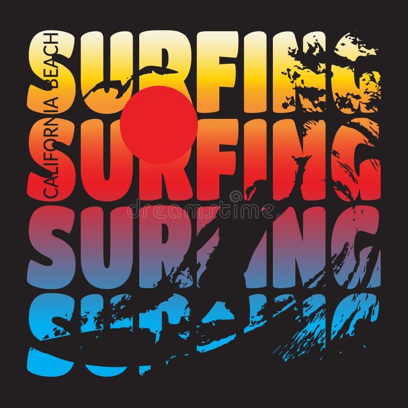 Surfing koszulki projekt royalty ilustracja