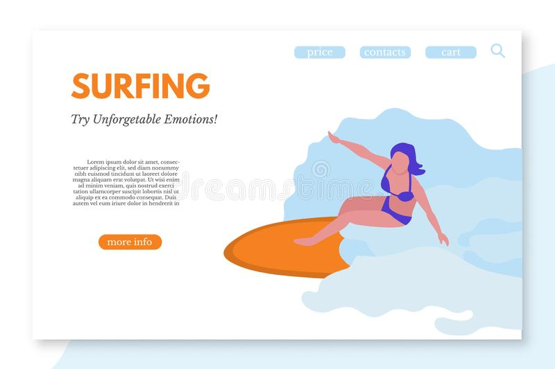 Surfing landing page template with text space stock illustration