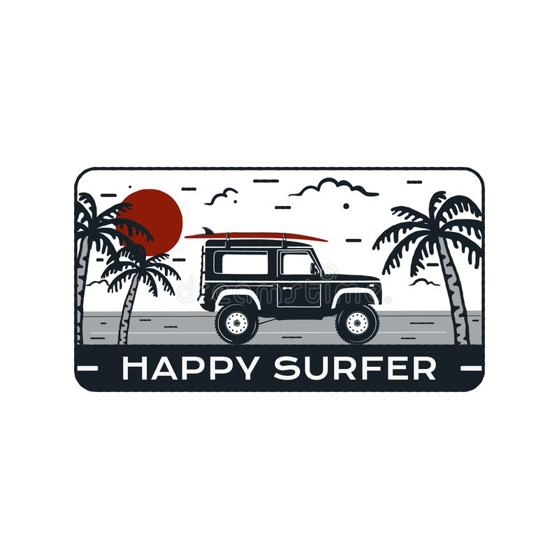 Surfing Logo Emblem. Vintage hand drawn travel badge, poster. Featuring surf car riding on the beach and sea landscape. Happy Surfer quote. Stock vector summer vector illustration