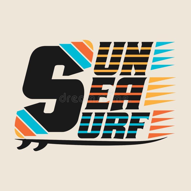 Surfing, Miami plaża, Floryda, surfing koszulki royalty ilustracja