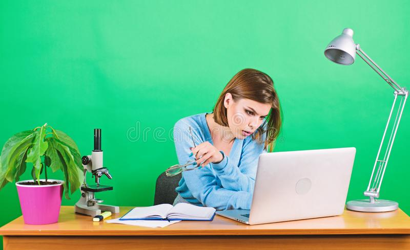 Surfing net. Modern student girl. Education concept. Student life. High school education. Start career teacher. Online. Remote classes. Busy with information stock image
