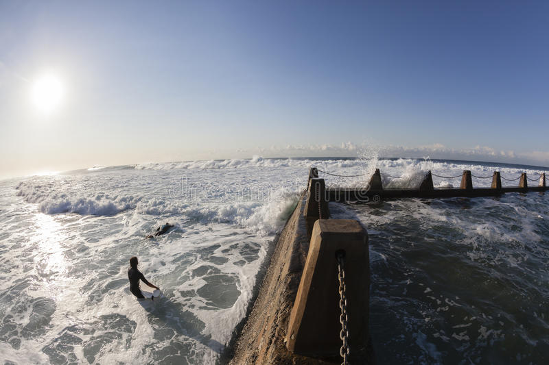 Surfing Ocean Entry Tidal Pool royalty free stock images