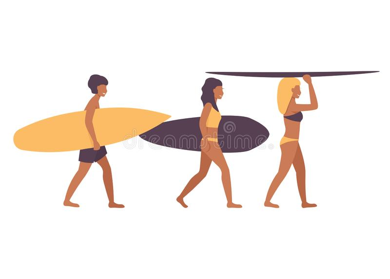 Surfing people characters isolated white background stock illustration