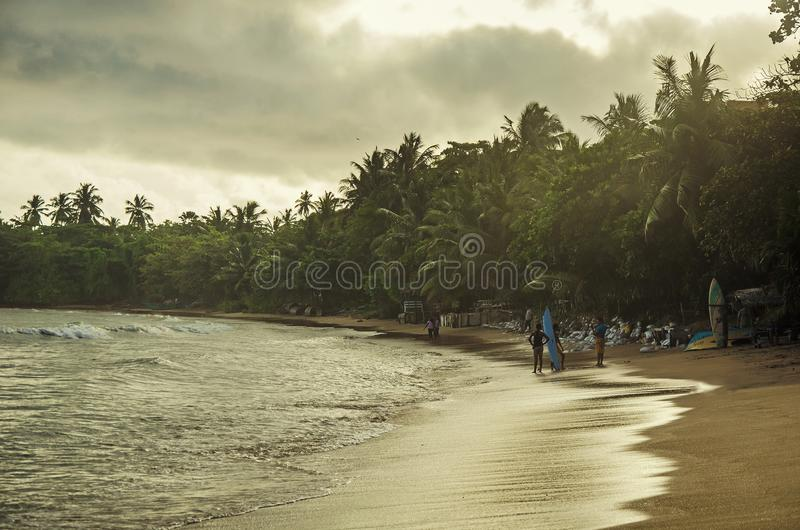 A surfing place. Ont the beach in Sri Lanka stock photos