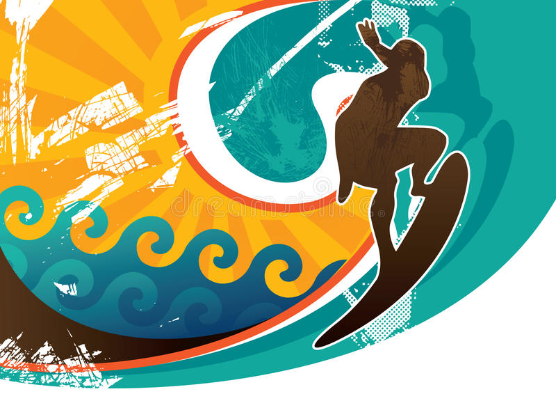 Surfing poster royalty free stock photography