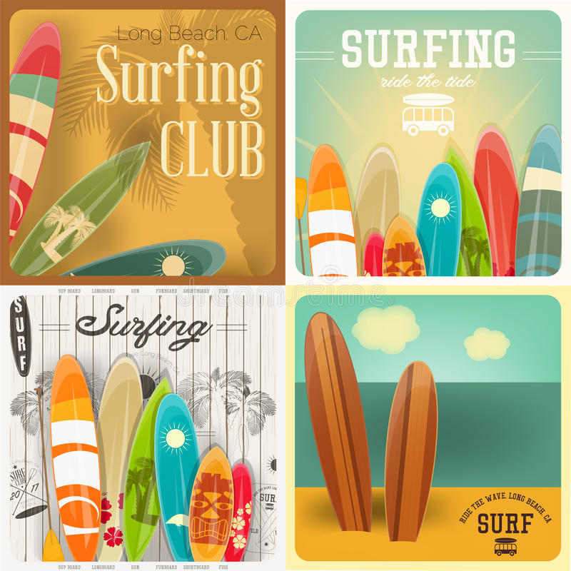 Surfing Posters Set stock illustration