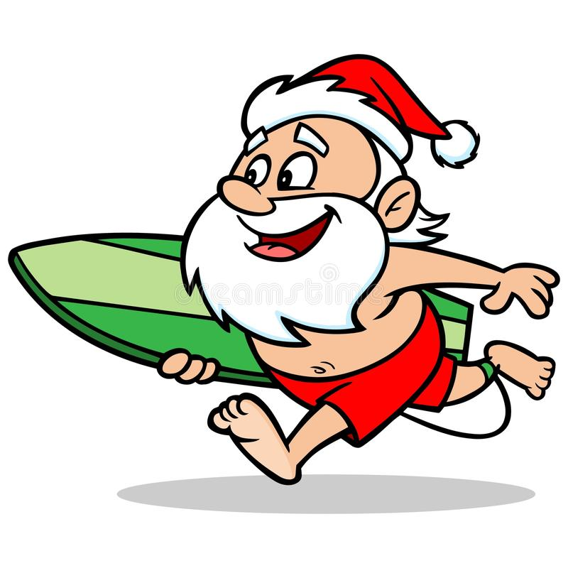 surfing santa stock vector illustration of beard concepts 72949242 rh dreamstime com surfing santa clipart free On the Beach Santa Clip Art
