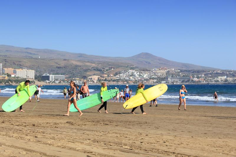 Surfing school, Gran Canaria royalty free stock images