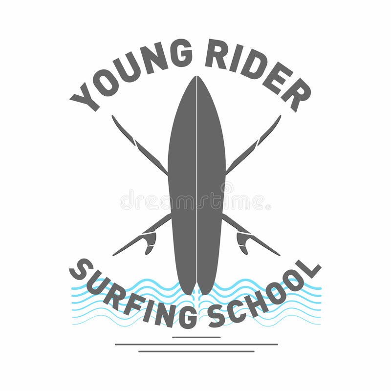 Surfing school logo. Monochrome surfboard with waves and lettering vector illustration