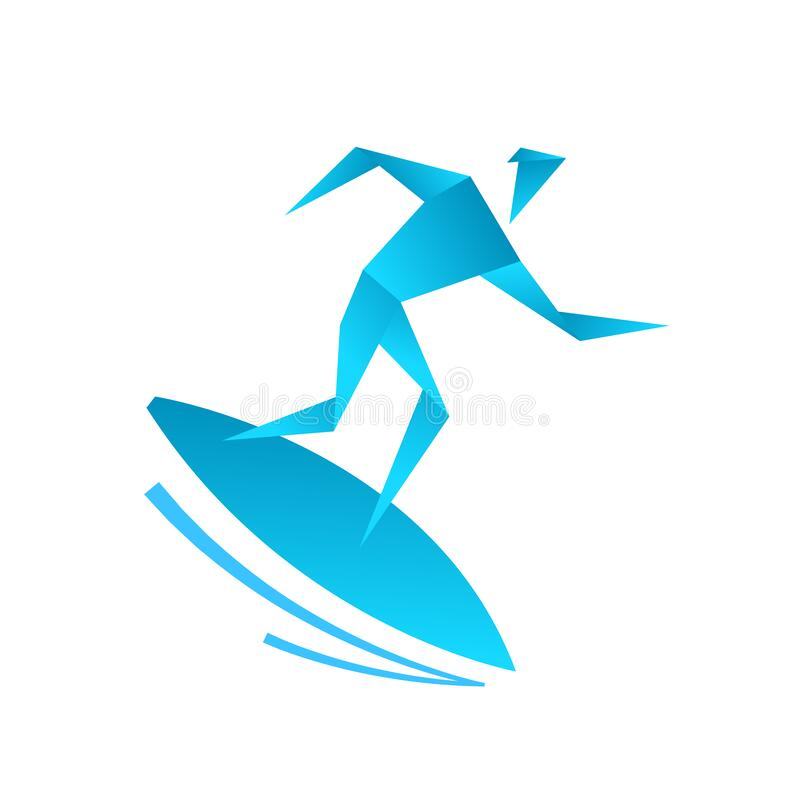 Surfing school. Man on a surfboard. Origami style. Caught a wave. Icon or logo. Flat vector. stock photography