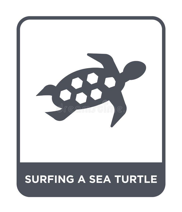 surfing a sea turtle icon in trendy design style. surfing a sea turtle icon isolated on white background. surfing a sea turtle royalty free illustration